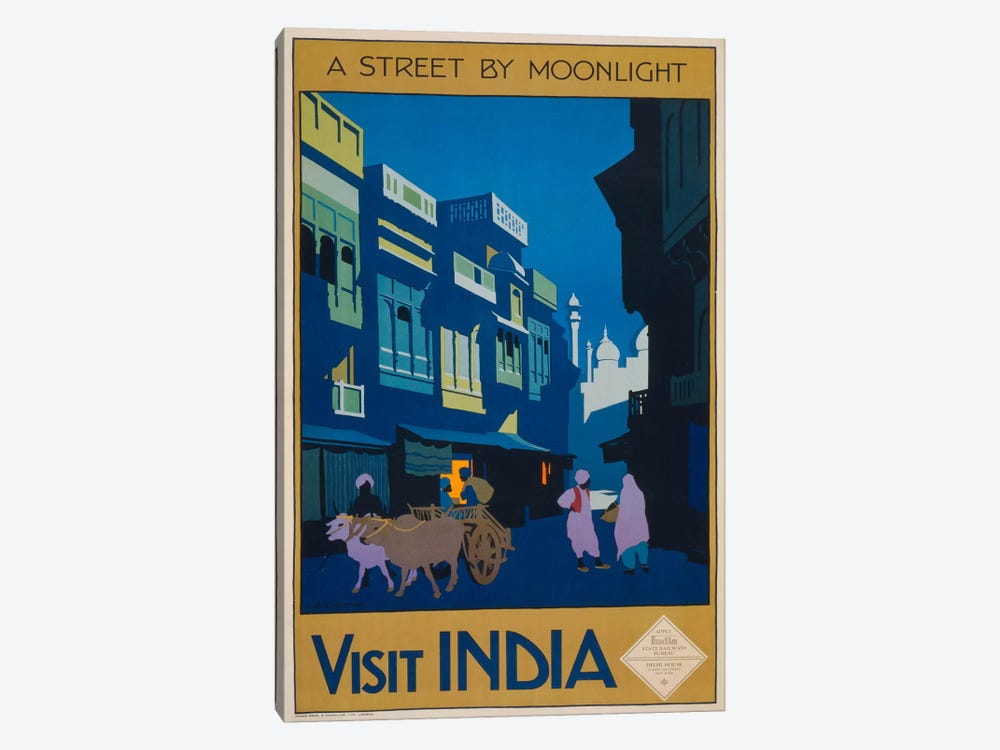 A Street by Moonlight - Visit India by Print Collection 1-piece Canvas Art Print