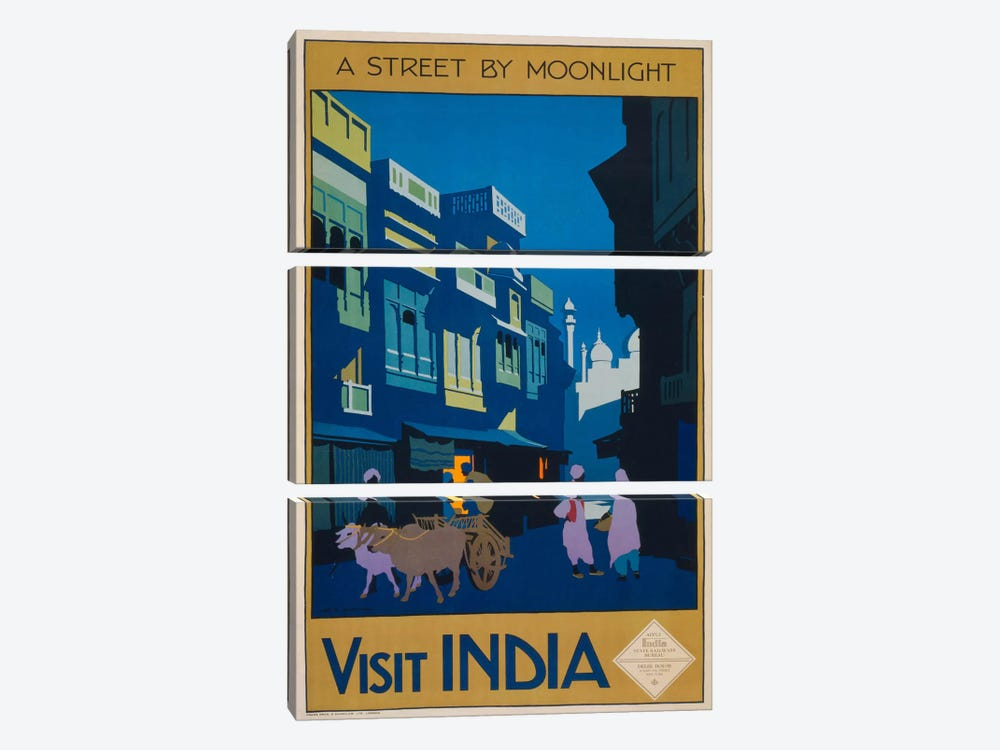 A Street by Moonlight - Visit India by Print Collection 3-piece Canvas Art Print