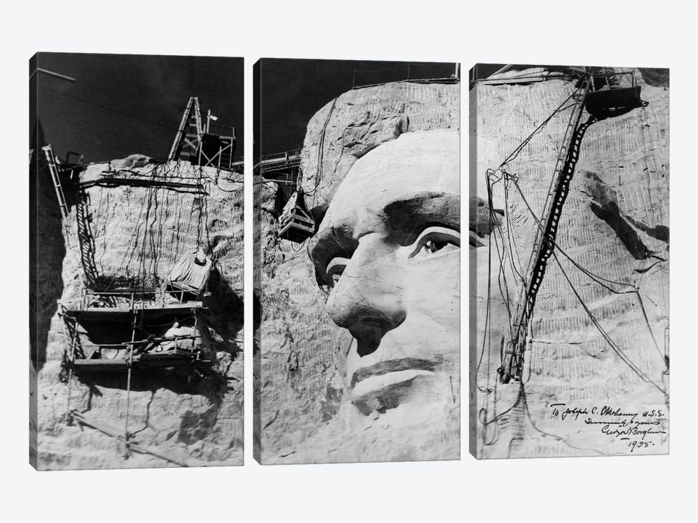 Abraham Lincoln on Mount Rushmore by Print Collection 3-piece Canvas Art Print
