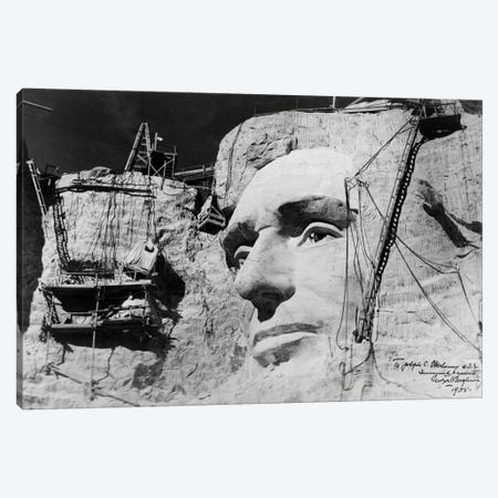 Abraham Lincoln on Mount Rushmore Canvas Print #PCA416} by Print Collection Canvas Print