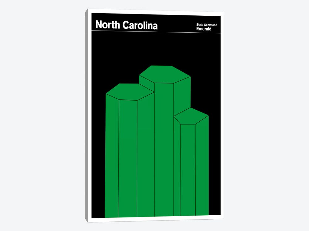 State Posters NC by Print Collection 1-piece Canvas Wall Art
