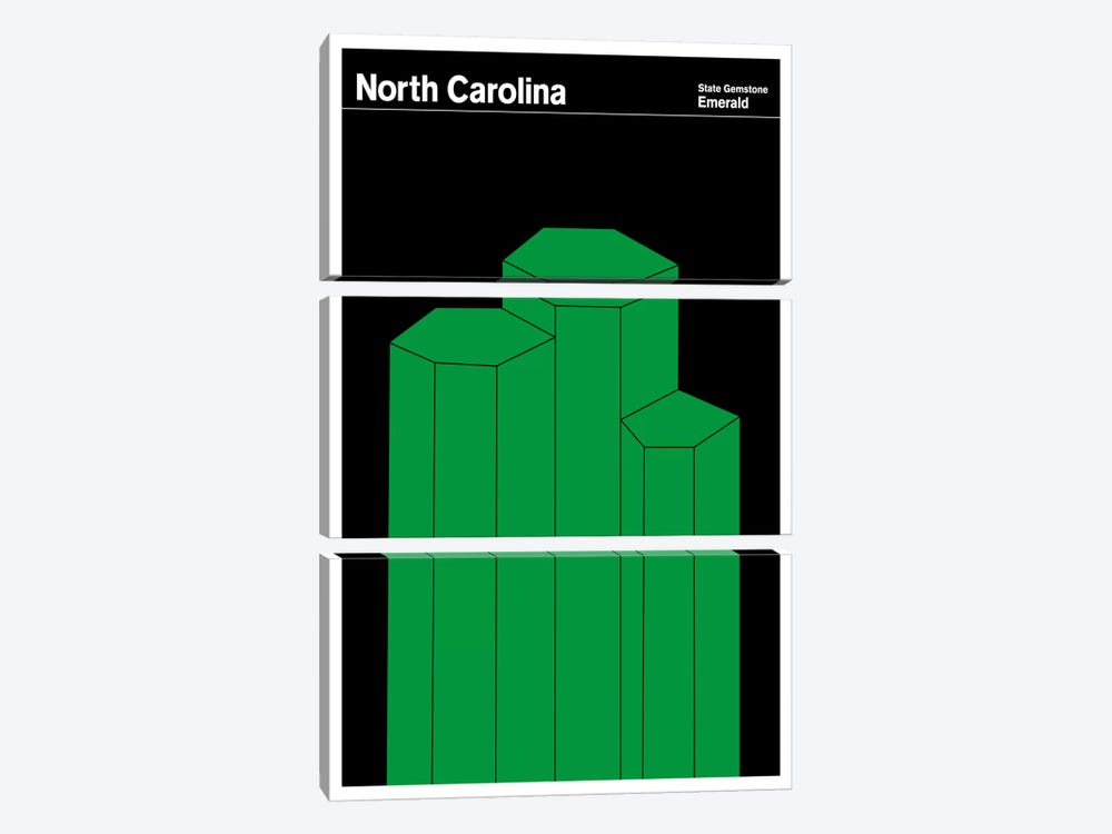 State Posters NC by Print Collection 3-piece Canvas Wall Art