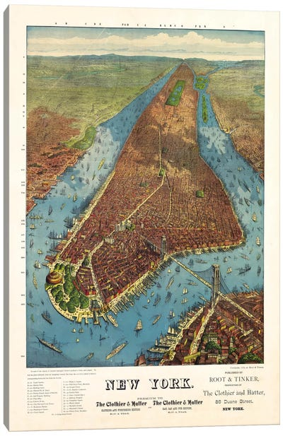 Aerial Map for Root & Tinker of New York Canvas Art Print
