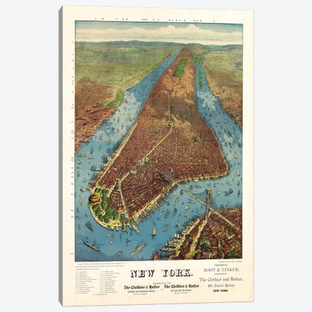 Aerial Map for Root & Tinker of New York 3-Piece Canvas #PCA422} by Print Collection Art Print