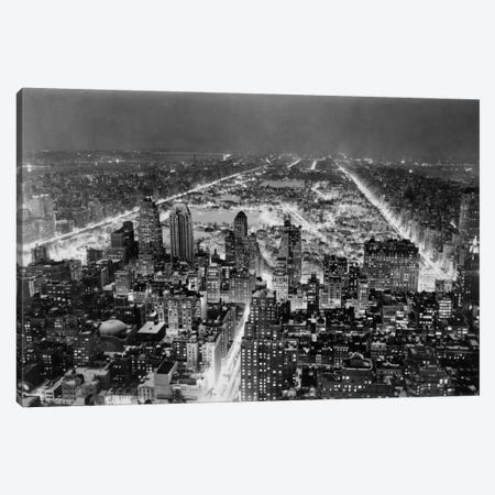 Aerial View of New York City, at Night Canvas Print #PCA423} by Print Collection Art Print