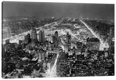 Aerial View of New York City, at Night Canvas Print #PCA423