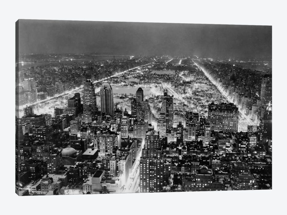 Aerial View of New York City, at Night 1-piece Art Print