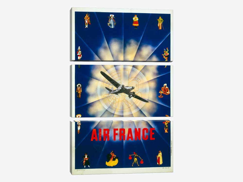 Air France by P. Chanove by Print Collection 3-piece Canvas Artwork