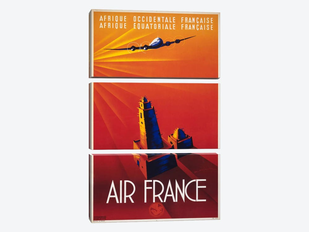 Air France to Africa by Print Collection 3-piece Canvas Art Print