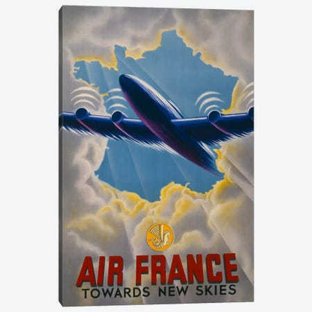 Air France Towards New Skies Canvas Print #PCA430} by Print Collection Canvas Wall Art