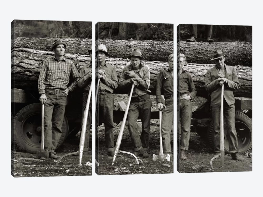American Loggers, 1939 by Print Collection 3-piece Canvas Print