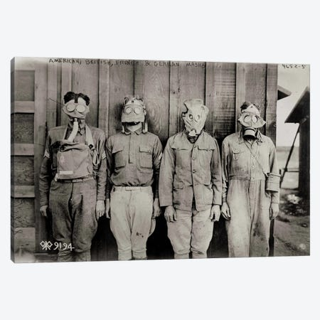 American, British, French & German Gas Masks Canvas Print #PCA438} by Print Collection Canvas Artwork