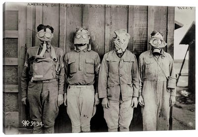 American, British, French & German Gas Masks Canvas Art Print