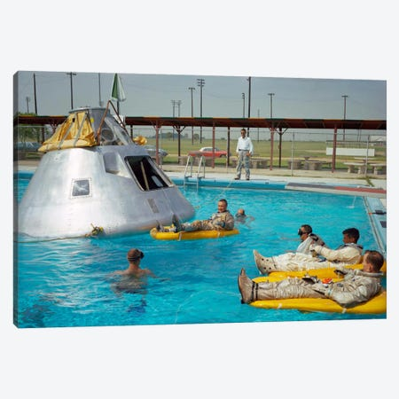 Apollo 1 Astronauts Working by the Pool Canvas Print #PCA449} by Print Collection Canvas Art Print