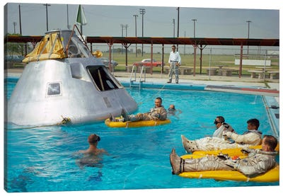 Apollo 1 Astronauts Working by the Pool Canvas Art Print