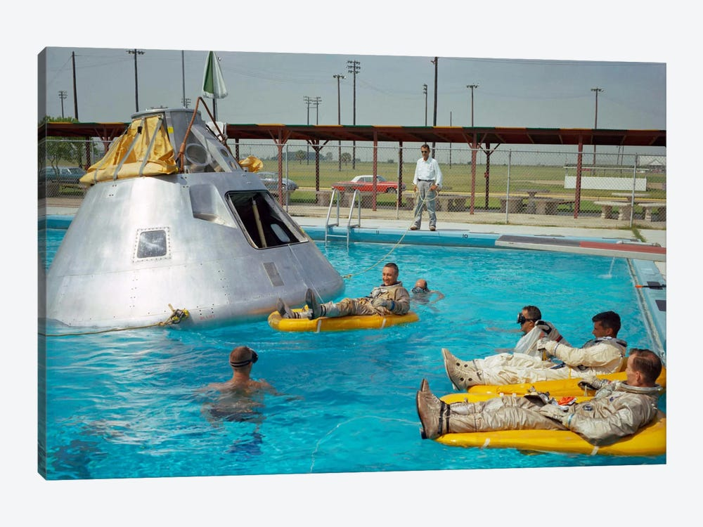 Apollo 1 Astronauts Working by the Pool by Print Collection 1-piece Canvas Print