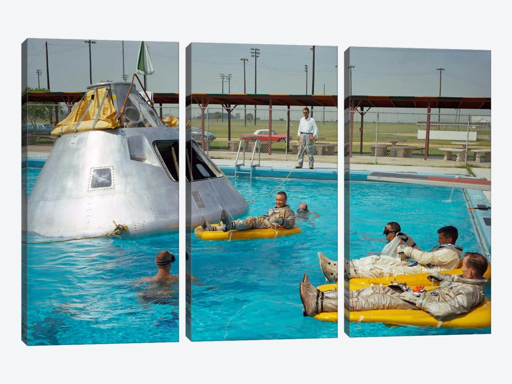 Apollo 1 Astronauts Working by the Pool by Print Collection 3-piece Canvas Print