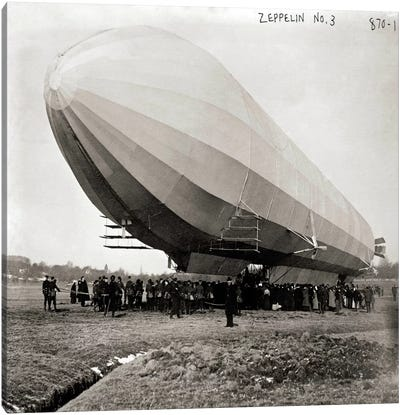 Blimp, Zeppelin No. 3, on Ground Canvas Art Print