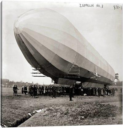Blimp, Zeppelin No. 3, on Ground Canvas Art Print