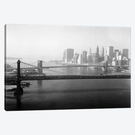 Brooklyn Bridge and Manhattan Bridge Aerial Canvas Print #PCA455} by Print Collection Canvas Print