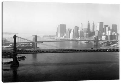 Brooklyn Bridge and Manhattan Bridge Aerial Canvas Art Print