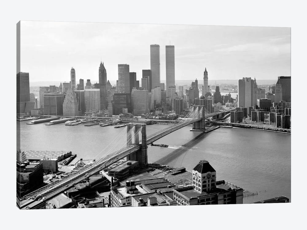 Brooklyn Bridge and World Trade Center, Lower Manhattan by Print Collection 1-piece Canvas Art Print