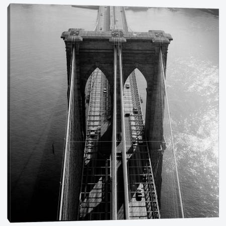 Brooklyn Bridge Tower Aerial Canvas Print #PCA458} by Print Collection Canvas Wall Art
