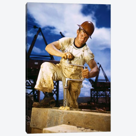Carpenter at Work on Douglas Dam, Tennessee Canvas Print #PCA464} by Print Collection Canvas Artwork