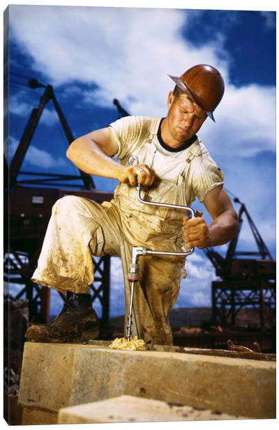 Carpenter at Work on Douglas Dam, Tennessee Canvas Art Print