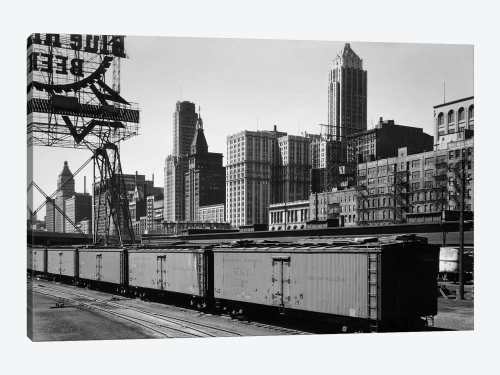 Chicago Skyline from Water Street by Print Collection 1-piece Canvas Art