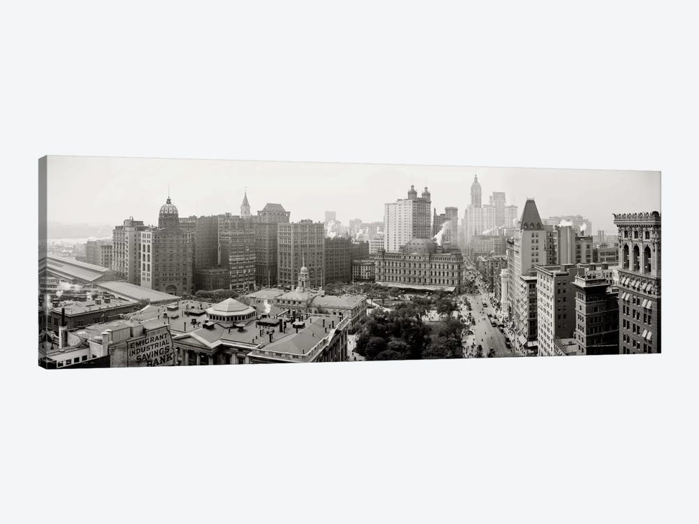 City Hall Panorama, New York by Print Collection 1-piece Canvas Wall Art