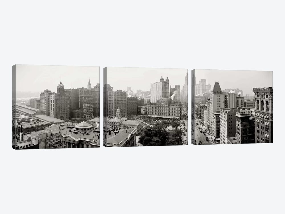 City Hall Panorama, New York by Print Collection 3-piece Canvas Wall Art