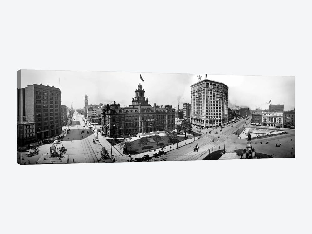 City Hall and Campus Martius, Detroit by Print Collection 1-piece Canvas Wall Art