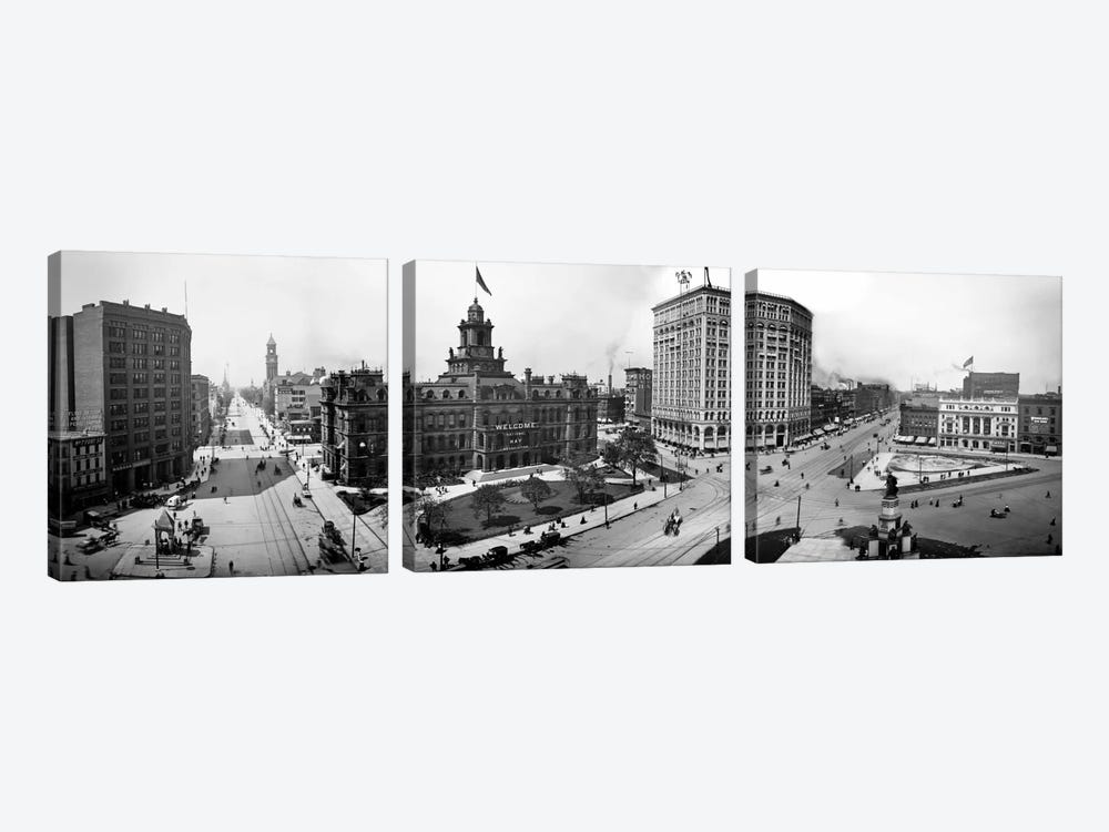 City Hall and Campus Martius, Detroit by Print Collection 3-piece Canvas Wall Art