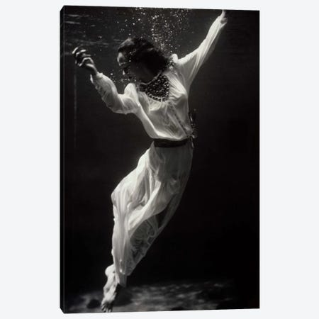 Fashion Model Underwater in Dolphin Tank Canvas Print #PCA481} by Print Collection Art Print