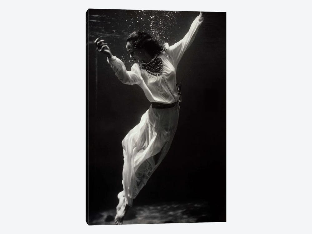 Fashion Model Underwater in Dolphin Tank by Print Collection 1-piece Art Print