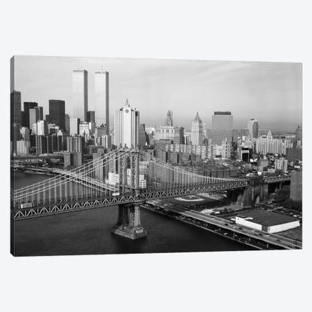 Manhattan Bridge with Twin Towers behind Canvas Print #PCA494} by Print Collection Art Print