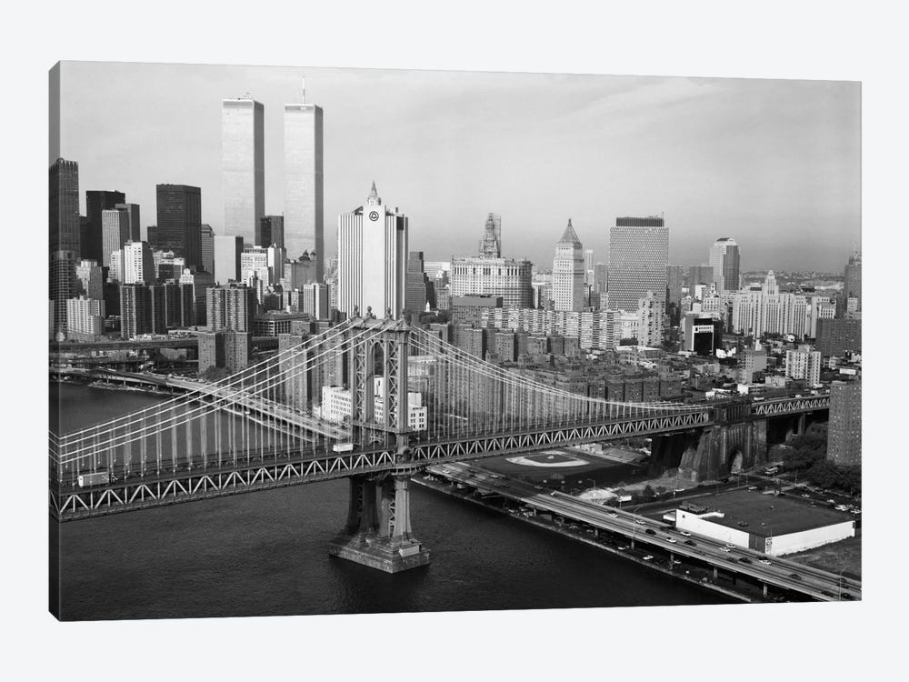 Manhattan Bridge with Twin Towers behind by Print Collection 1-piece Canvas Art Print