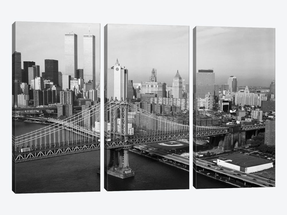 Manhattan Bridge with Twin Towers behind by Print Collection 3-piece Canvas Print