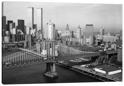 Manhattan Bridge with Twin Towers behind Canvas Art Print