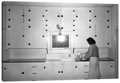 Modern Rural Kitchen 1930's Canvas Print #PCA495