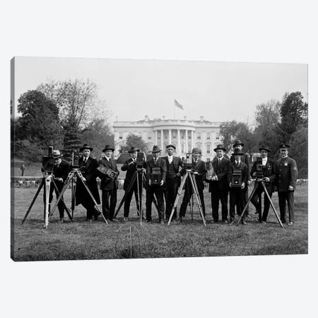 Press Correspondents and Photographers on White House Lawn Canvas Print #PCA504} by Print Collection Art Print