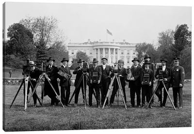 Press Correspondents and Photographers on White House Lawn Canvas Art Print