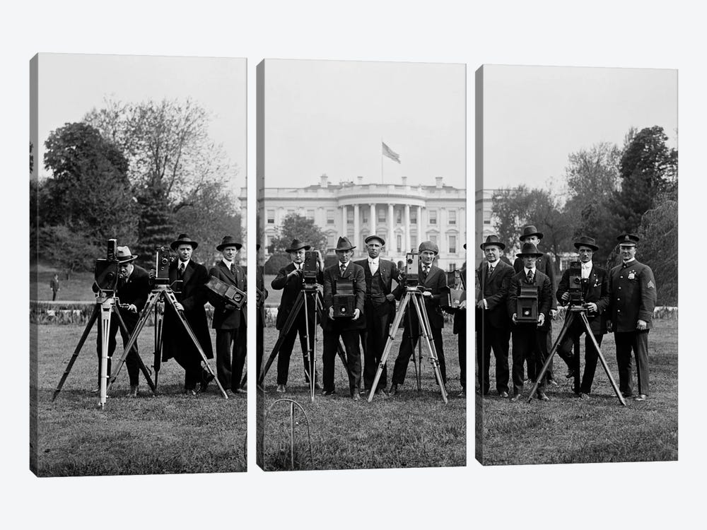 Press Correspondents and Photographers on White House Lawn by Print Collection 3-piece Art Print