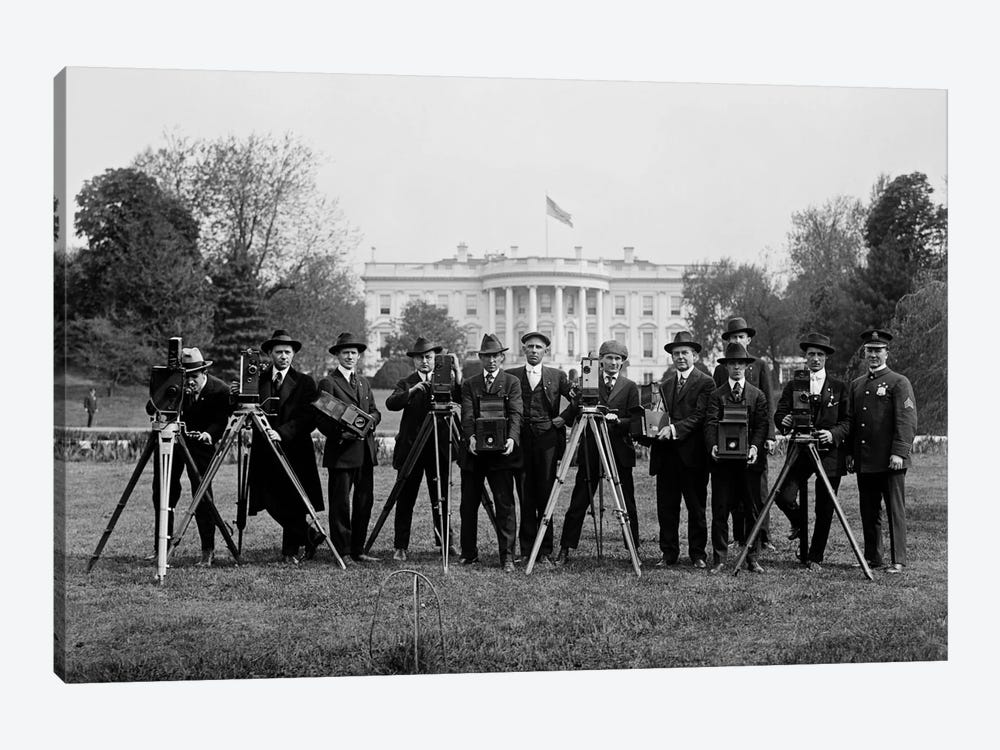 Press Correspondents and Photographers on White House Lawn by Print Collection 1-piece Canvas Print