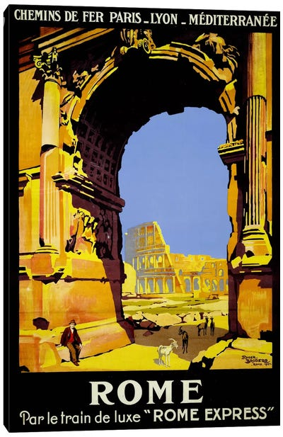 Rome Express Rome, Par le Train de Luxe Canvas Art Print