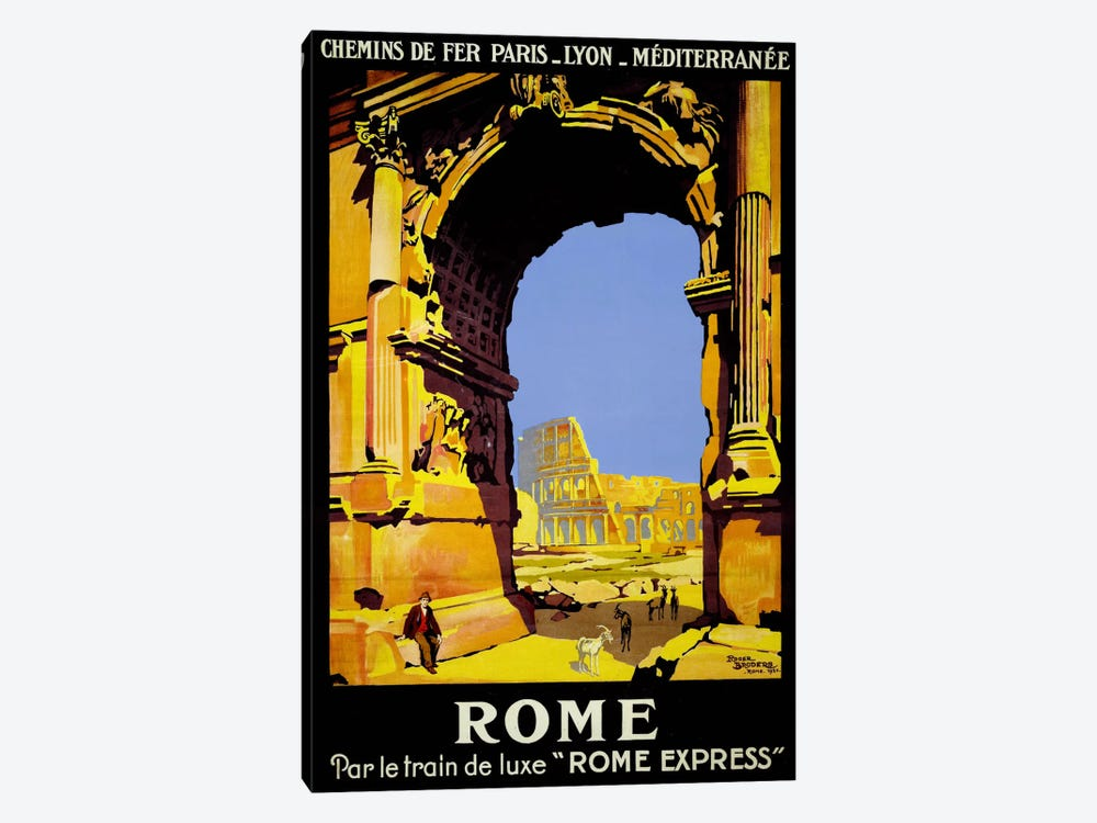 Rome Express Rome, Par le Train de Luxe by Print Collection 1-piece Canvas Print