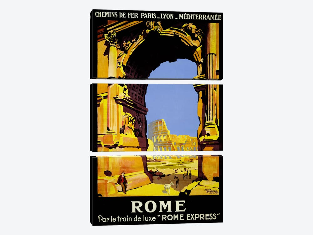 Rome Express Rome, Par le Train de Luxe by Print Collection 3-piece Canvas Print