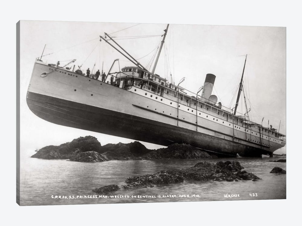 S.S. Princess May Wrecked by Print Collection 1-piece Canvas Wall Art
