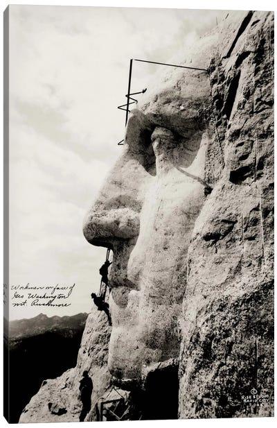 Workmen on Face of George Washington Canvas Print #PCA531